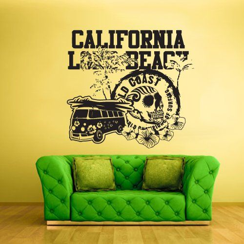 Wall Decal Vinyl Sticker Decals California Long Beach Palm