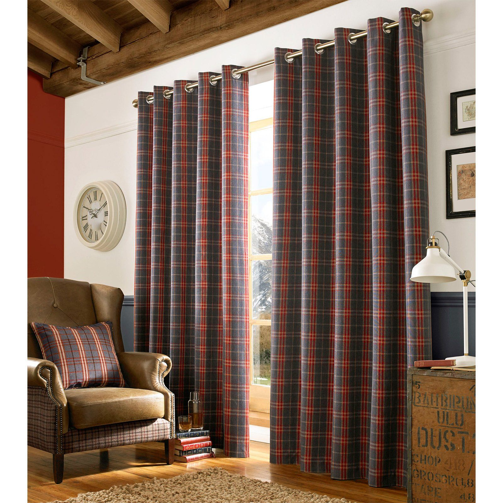 Archie Fully Lined Eyelet Curtains   Woven Tartan Check Denim Blue Curtain  Pair Denim   Blue Red   Curtain Pair x. Archie Fully Lined Eyelet Curtains   Woven Tartan Check Denim Blue