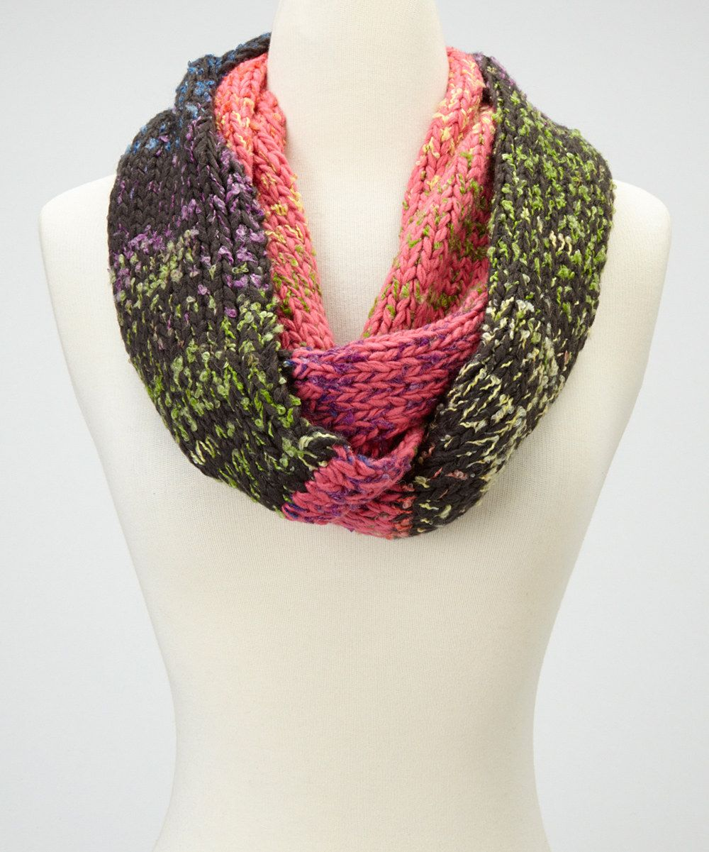 Take a look at this Emanuel Geraldo Pink & Black Infinity Scarf on zulily today!