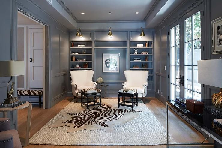 Gray Den With Gray Paneled Walls Features Boston