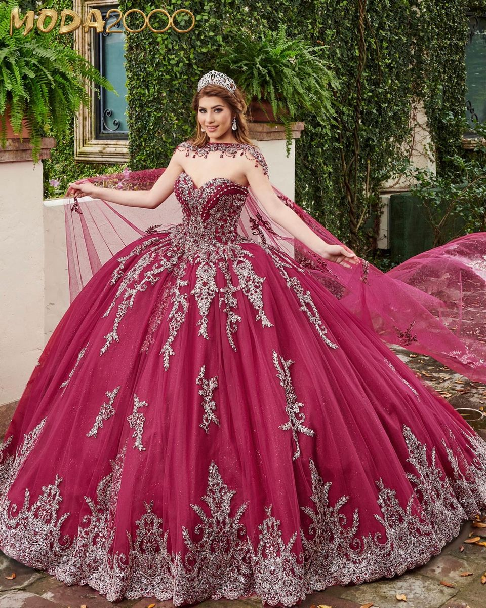 Burgundy And Silver Quinceanera Dress With Cape In 2020 Pretty Quinceanera Dresses Dresses Quince Dresses