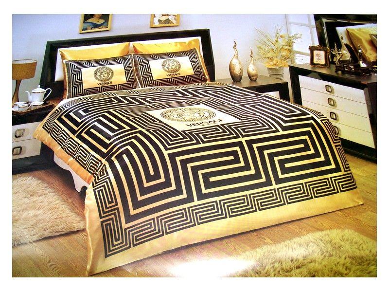 Schlafzimmer Versace ~ Versace bedding set satin medusa duvet set black gold homes