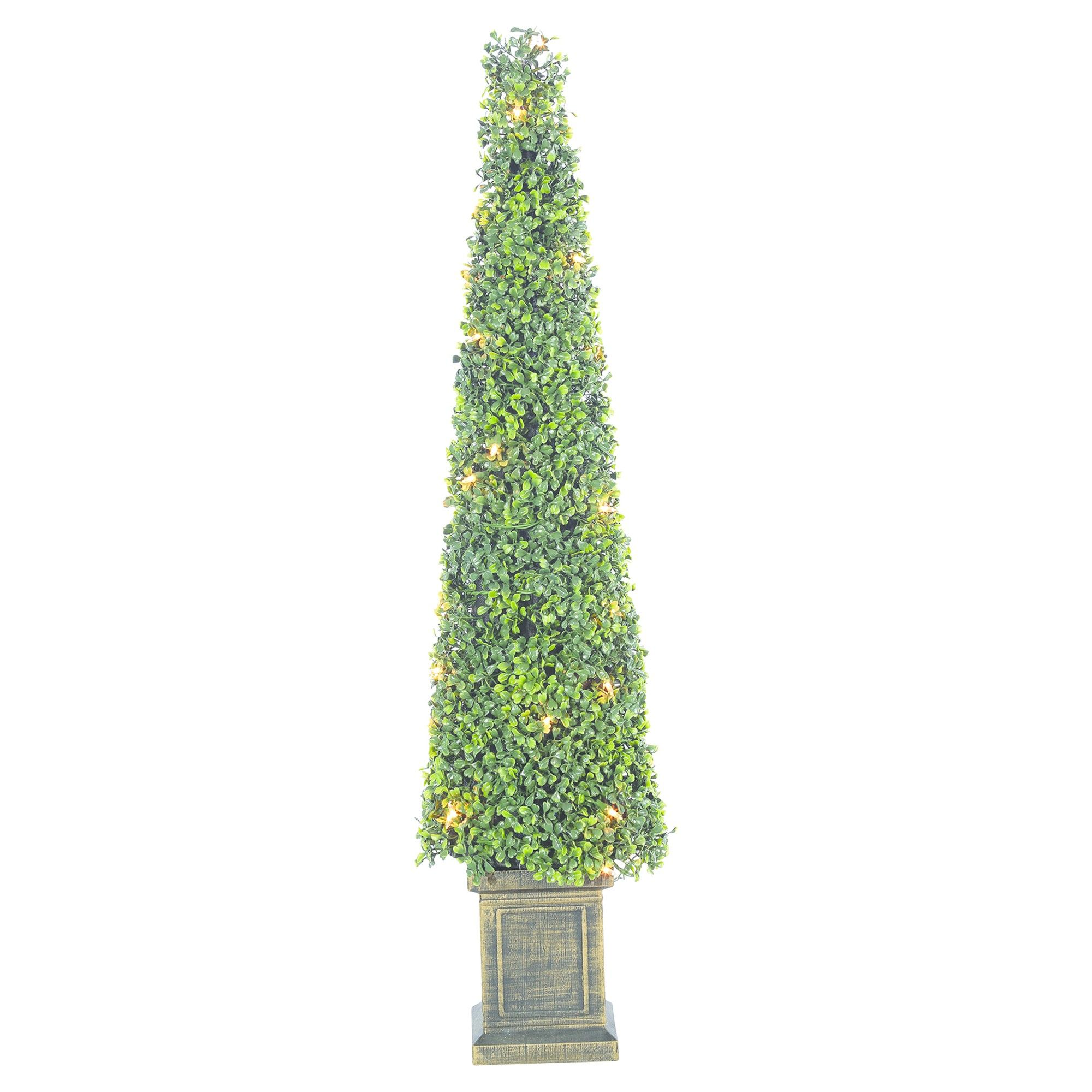 3.5ft Pre-Lit Artificial Christmas Tree Potted Boxwood Tower Tree ...