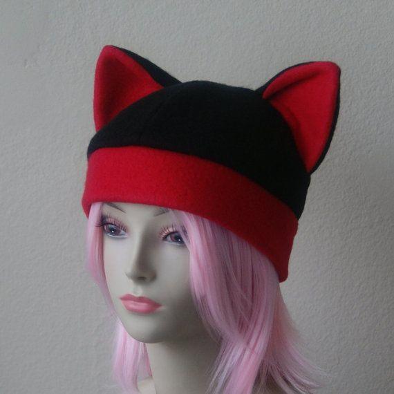 177711cc Fleece Cat Hat / BLACK + RED Beanie Style Cap Cute Anime Neko Cosplay Cat  Ears Kitty Ears Kawaii Jrock Goth Punk Japanese Fashion by CosplaySnap  (Cosplay ...