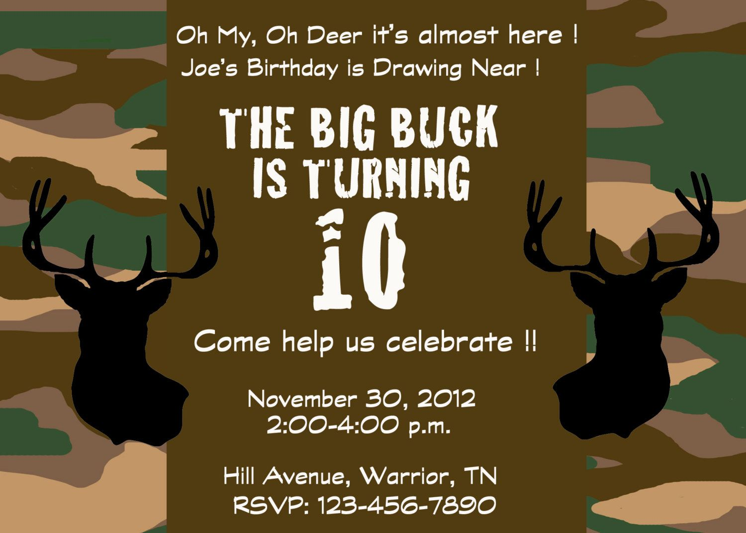 Deer hunting camo party invitation by SweetSarahDesigns on Etsy ...