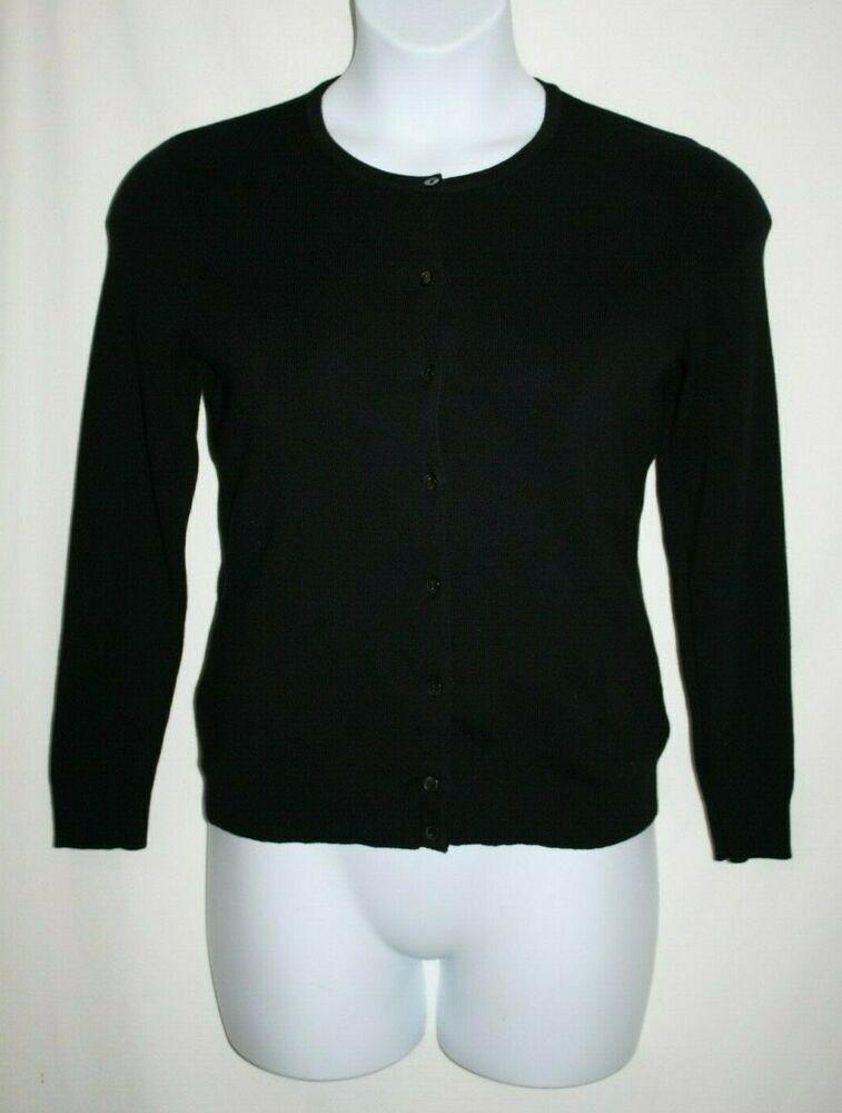 Croft & Barrow Petite SMALL PS Cardigan Sweater Black Button