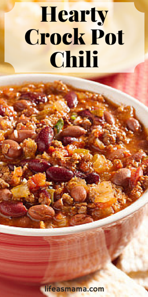 Call me crazy, but I could eat chili pretty much any time of the year. It doesn't matter if its winter or summer, it's just as tasty in my book! One of the many great things about chili is it's best when made in the crock pot, which means minimal work and not having to stand over a hot stove (told ya it's great for summer!). You'll love this hearty version we've cooked up that's great for nights that are rushed, but when dinner shouldn't be.