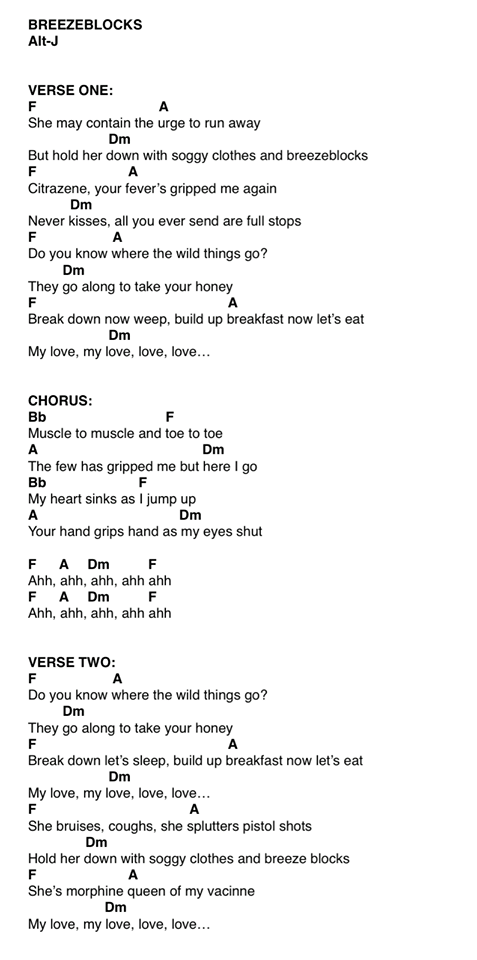 Breezeblocks Ukulele Chords Learning Music Pinterest Ukulele