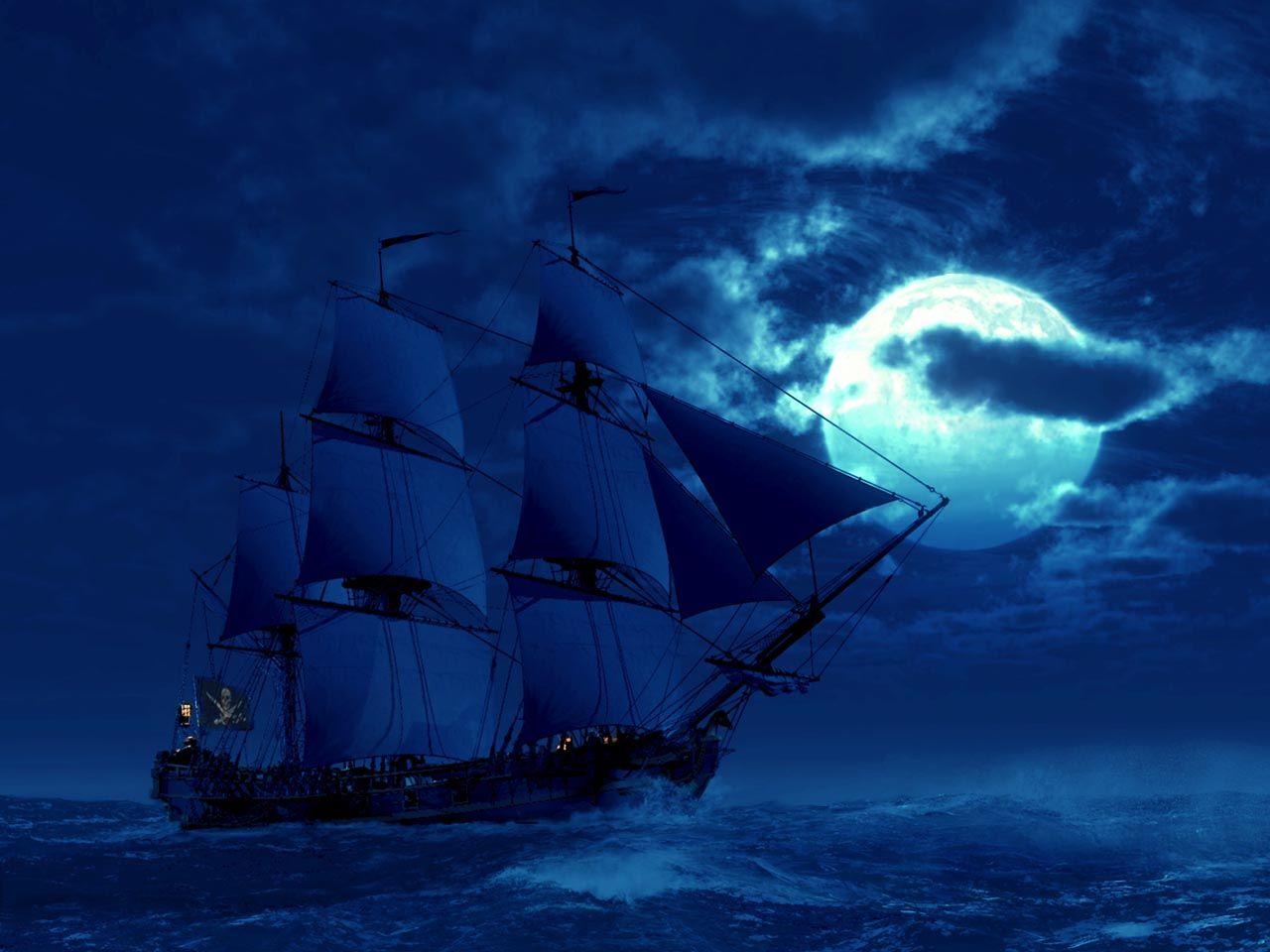 корабль в ночном море картинки благодаря мир