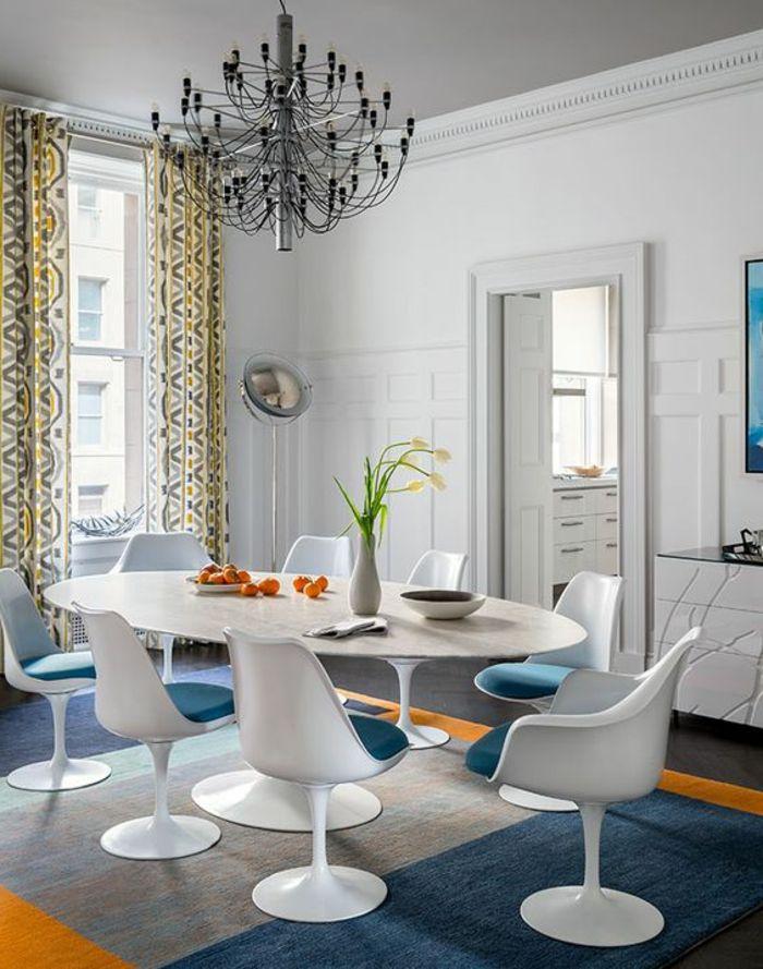 chaise tulipe grande table tulipe ovale tapis patchwork - Grande Table Ovale