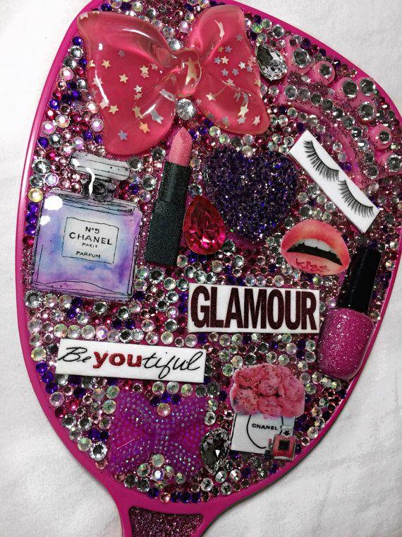 Custom Bling Hand Mirror Rhinestone Mirror By Glamandglimmer Rhinestone Mirror Mirror Crafts Hand Mirror