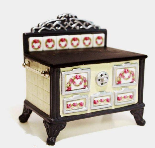 Porzellanherd Ofen Kochmaschine Küche Puppenhausmöbel Miniatur 1:12