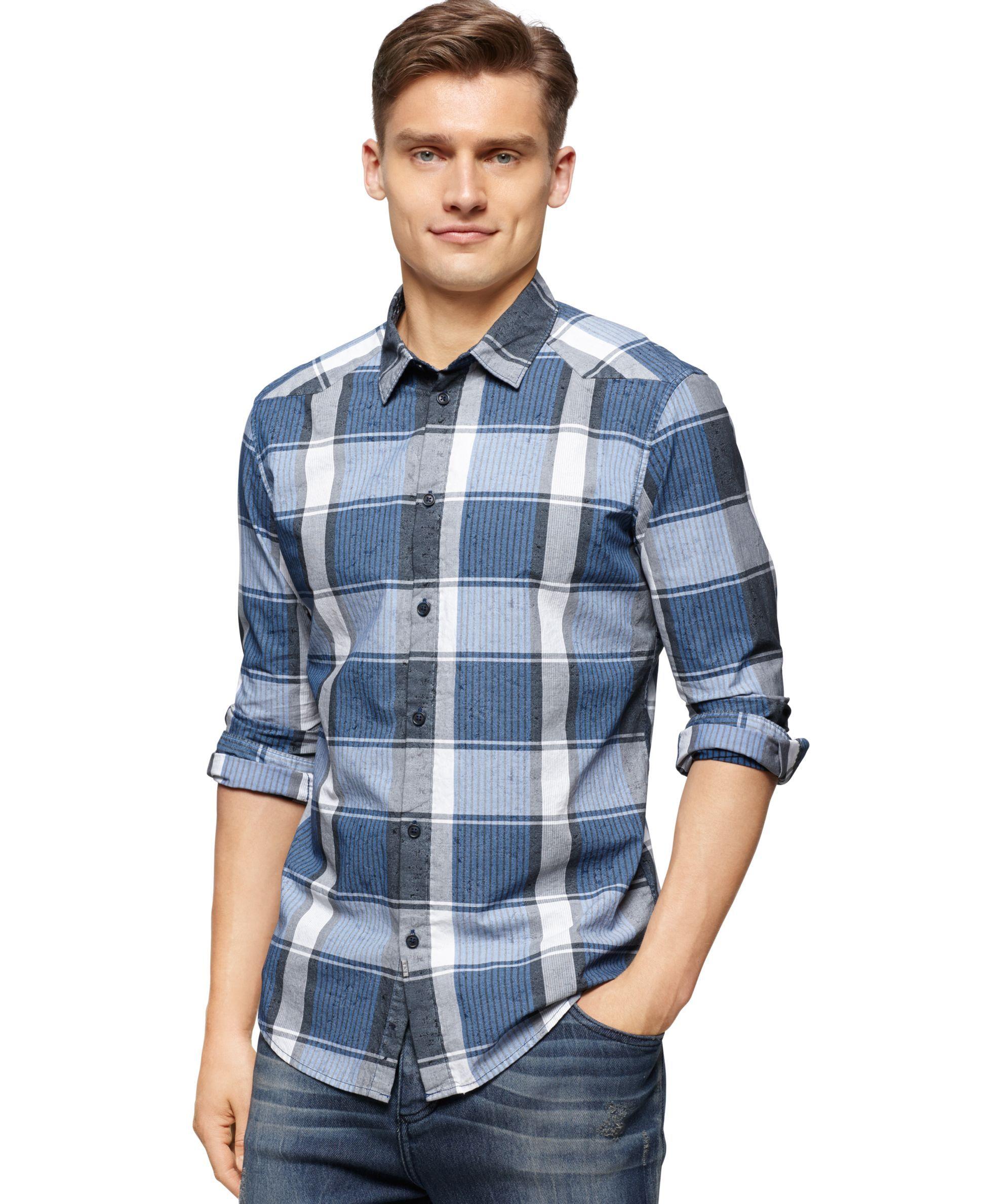 Calvin Klein Indigo Plaid Shirt  Products  Pinterest  Products