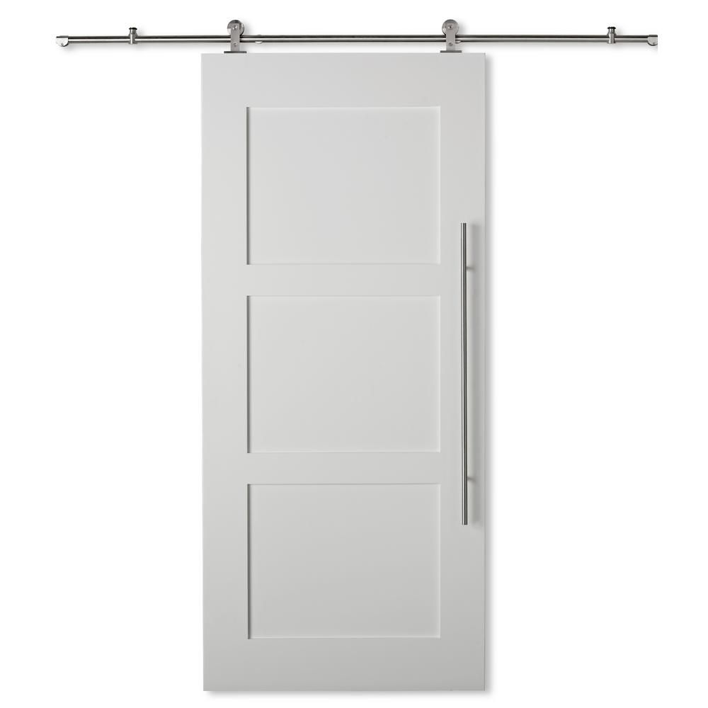 Colonial Elegance 37 In X 84 In Shaker 3 Panels Door For Rail Systems Collection Rdshk 37 The Home Depot Interior Barn Doors 3 Panel Door Eclectic Interior