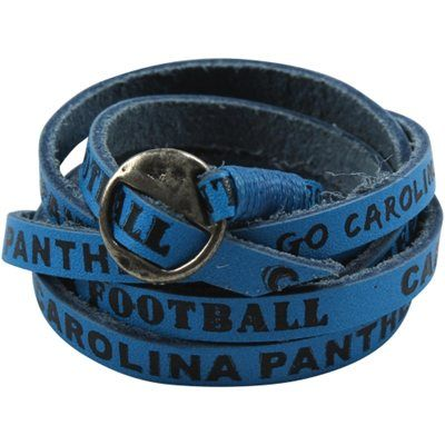 Carolina Panthers Las Leather Wrap Bracelet Panther Blue