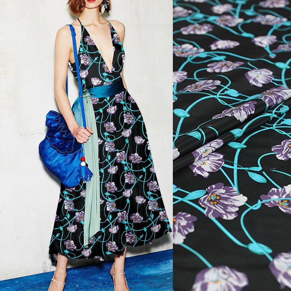 Floral Print 100/% Pure Silk Fabric Black Crepe de Chine Fabrics for Fashion Dress Width 44 inch