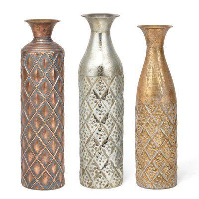World Menagerie Farmington Metal Based Narrow 3 Piece Floor Vase