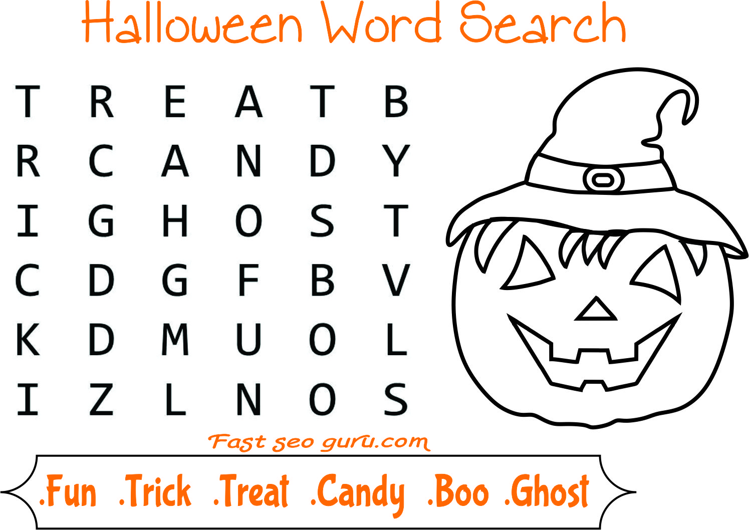 Easy halloween word search for kids Halloween word