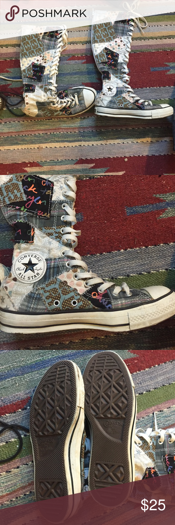 Converse Tall converse lace ups in quilted pattern. Worn twice. Full Back zipper. Converse Shoes Lace Up Boots