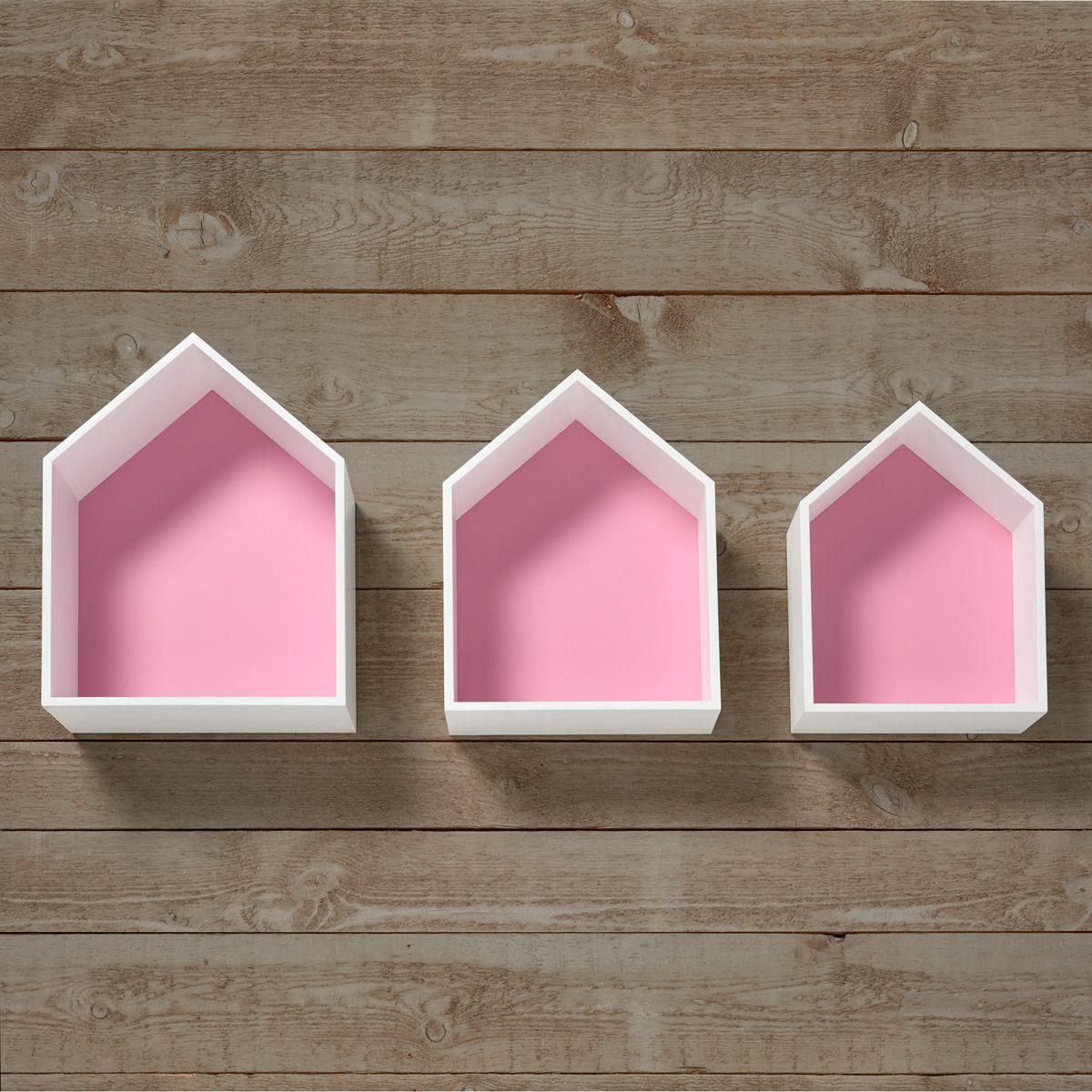 Set de 3 casitas estantes mini home el corte ingl s nest for Muebles infantiles el corte ingles