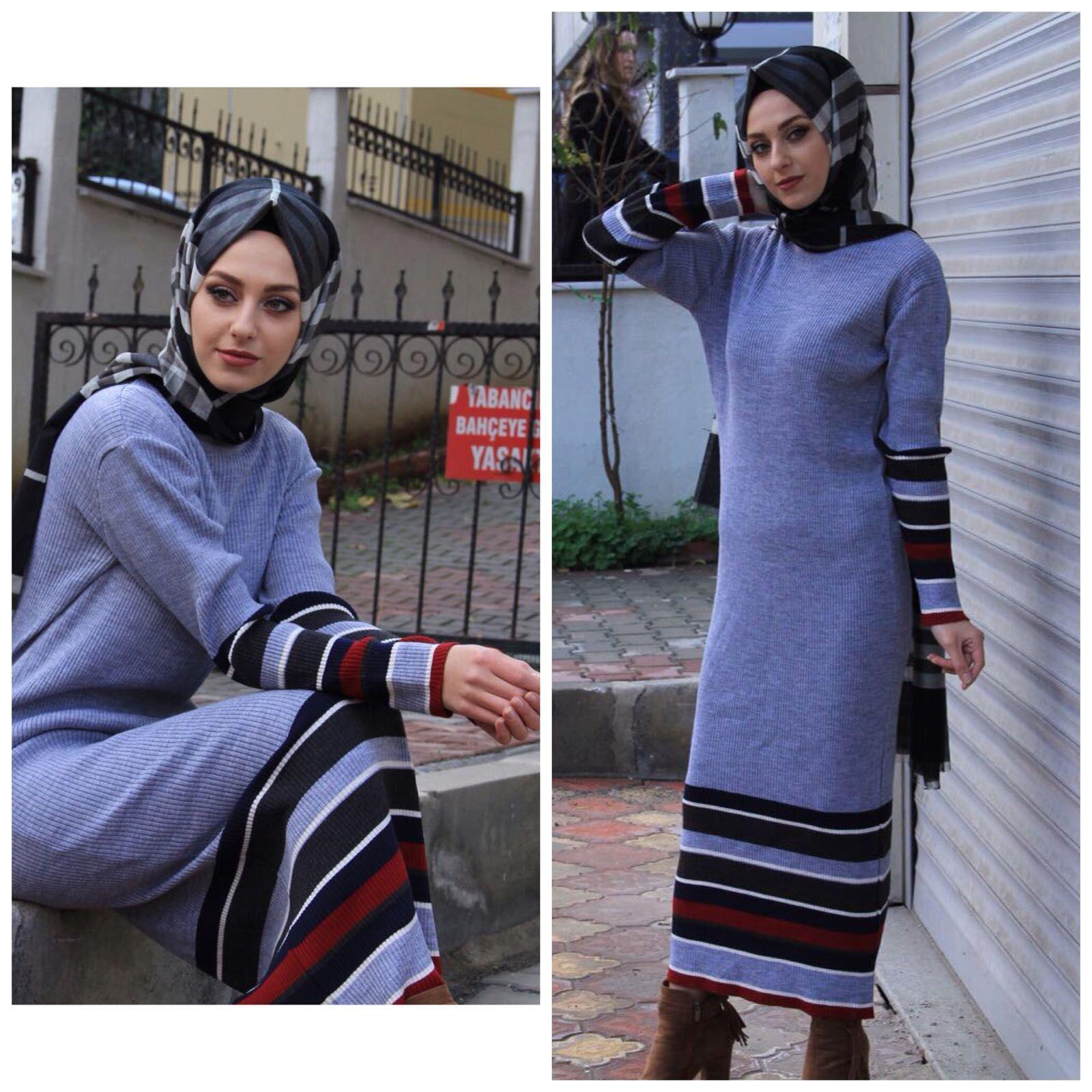 5cb048dbbddfd Tesettür Triko Elbise Modelleri | Tesettür | Elbise modelleri, Triko ...