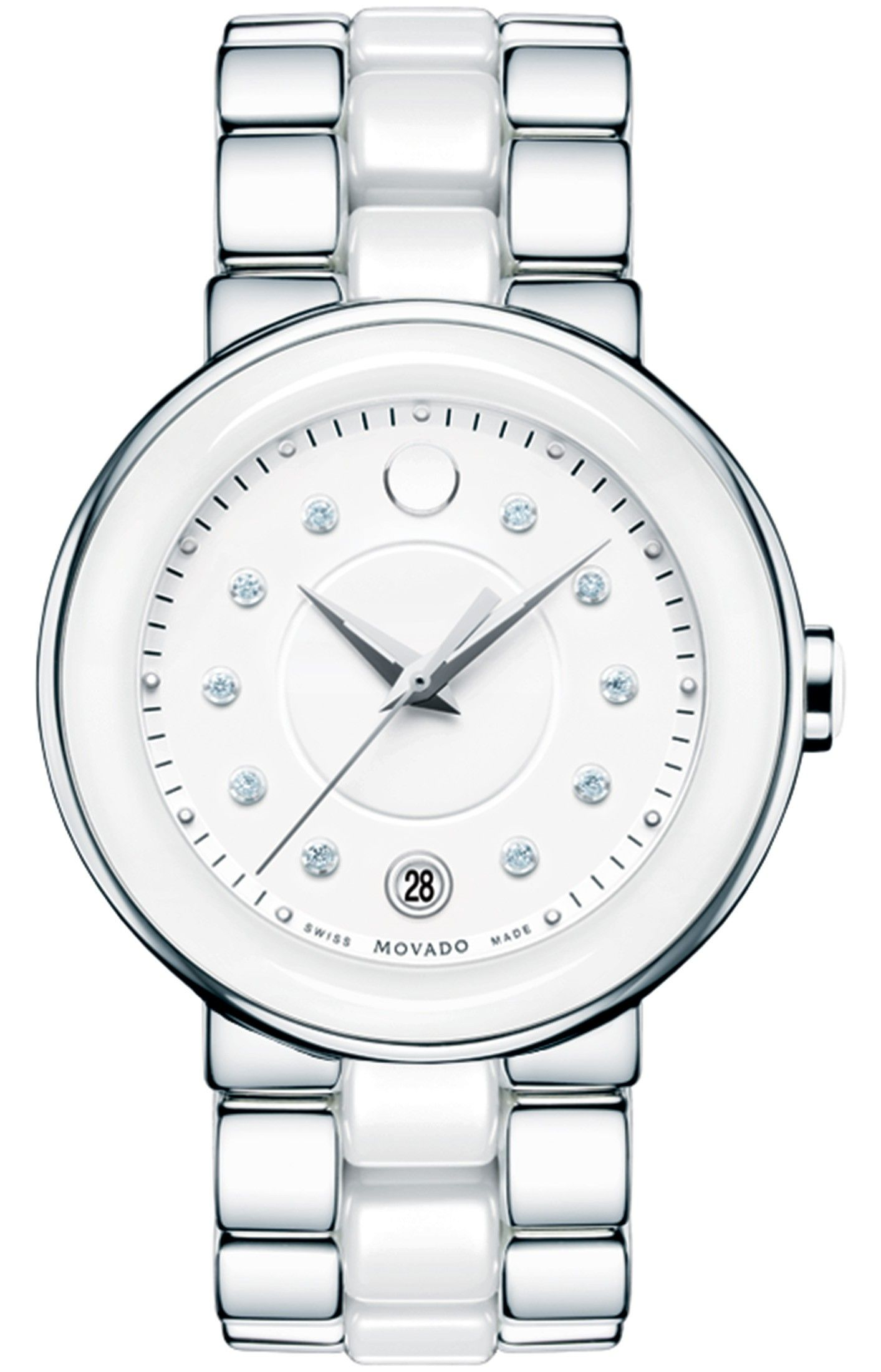 3c781a67e Cerena - Women's Cerena watch, 36 mm white ceramic and stainless steel  case, round white 3-hand dial with matching signature dot, 10 diamond  markers (0.065 ...