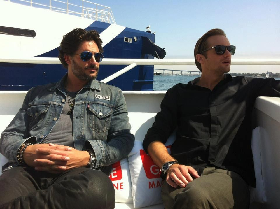 True Blood stars Joe Manganiello and Alexander Skarsgård chilling out on board our yacht