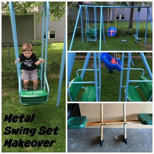 Metal Swing Set Makeover Outdoors Metal Swing Sets Diy