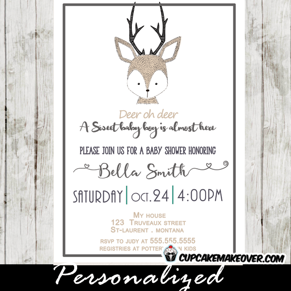 oh deer baby shower invitation- a baby boy -deer baby shower, Baby shower invitations