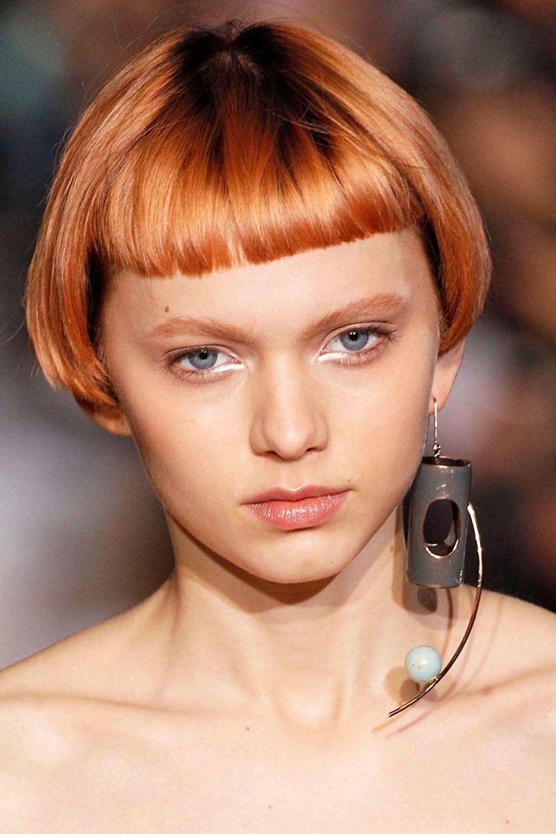 bob short bangs ginger fringe hair blonde hairstyles haircuts strawberry bobbed blond bobs haircut micro frisuren balayage choppy blunt allthingshair