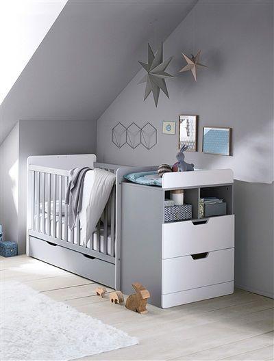 Mitwachsendes Kinderbett GRAU + WEIß