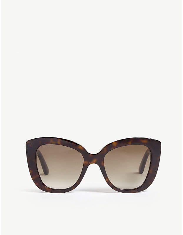 97bf1c8dee7 Gucci Havana Gg0327s cat-eye frame sunglasses