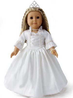 "Wedding Dress for Dolls Like 18"" American Girls® by Emma's Collection. $32.99. Delicate brocade fabric, use care when putting them on the dolls.. Special Occasion Dress: 5 piece graceful Wedding dress set for 18'' doll such as American girl doll. This dress set includes: white gown, the petticoat, the necklace, bracelet and tiara. Dress is made of quality white Jacquard weave silk, dress close in back with Velcro. Delicate brocade fabric, use care when putting them on..."