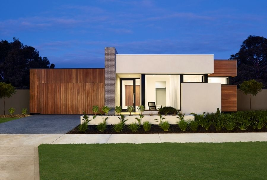 Contemporary single storey house facade google search for One floor modern house plans