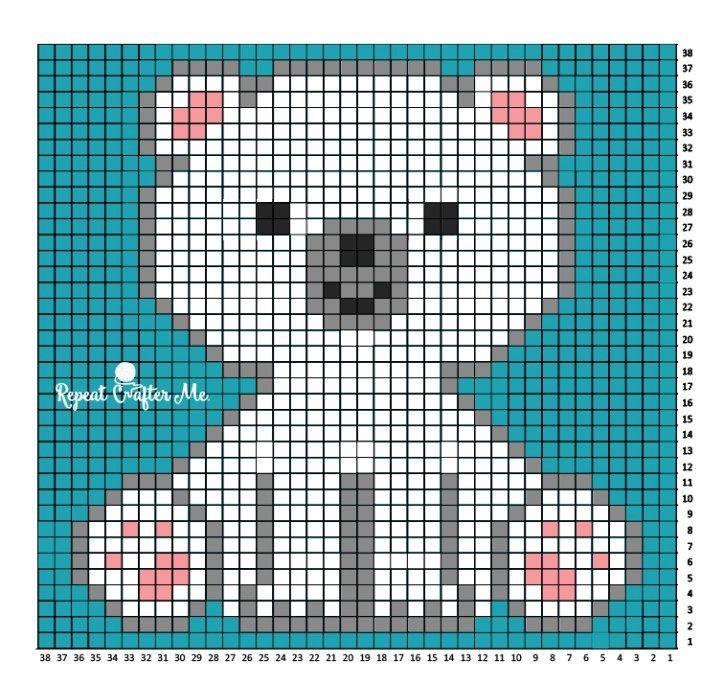 Polar Bear Cub Crochet C2C Blanket | Esquemas, Punto de cruz y Patrones