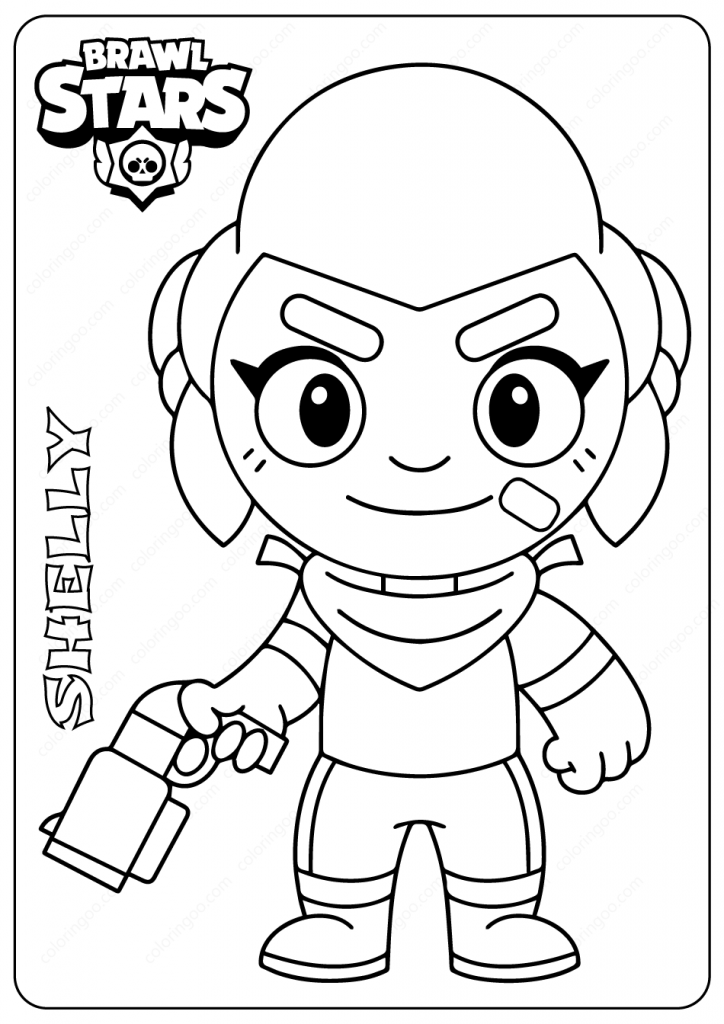 Printable Brawl Stars (Shelly) PDF Coloring Pages in 2020