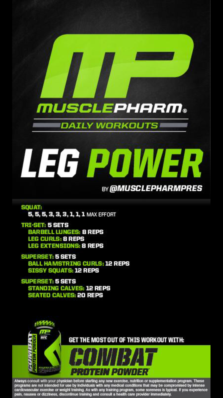 muscle pharm building u muscle pharm and muscle leg routine i would switch the first squat sets for the leg press