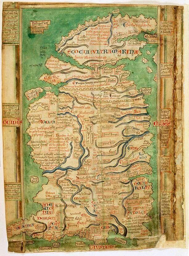 Map of England and Scotland circa 1250 History
