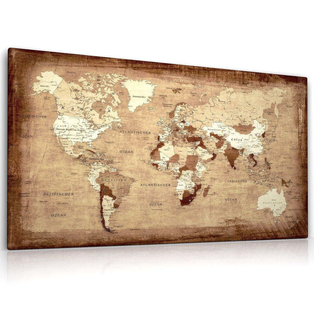 Want weltkarte leinwand bild auf keilrahmen landkarte for Kunstdruck wohnzimmer