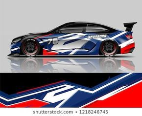 Super Car Wrap Design Vector Graphic Abstract Stripe Racing