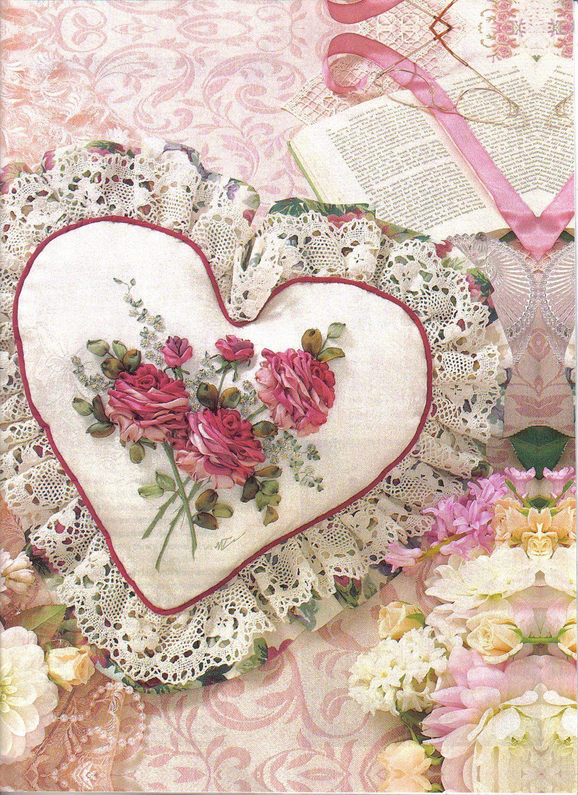 Ribbon embroidery bedspread designs - Bordados Con Cintas Toallas Manteles Cojines Para Luisa Ribbon Rosesilk Ribbonribbon Embroideryembroidery Patternsheart