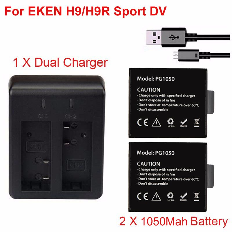2 x 1050Mah Sport Action Battery For EKEN H9 H9R H3 H3R H8PRO H8R H8 pro SJCAM SJ4000 SJ5000 Sport DV battery + Dual Charger