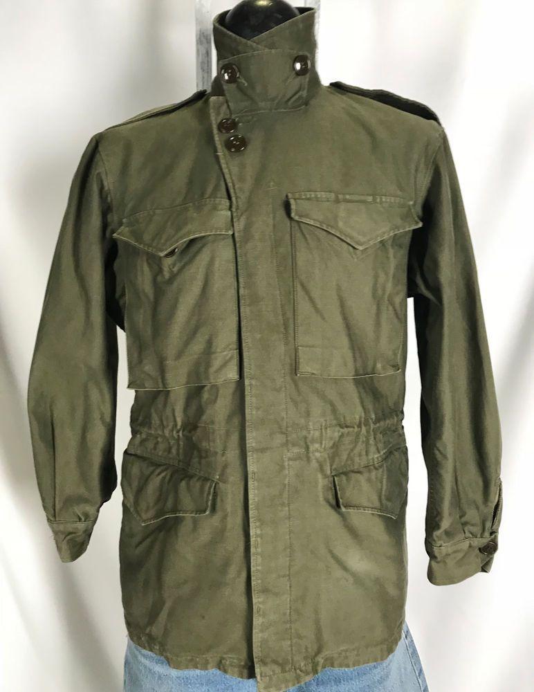 1b25424ed05c4 Vintage Military WWII M-1943 M43 US Army Field Jacket Vtg 40s Green OD 34R