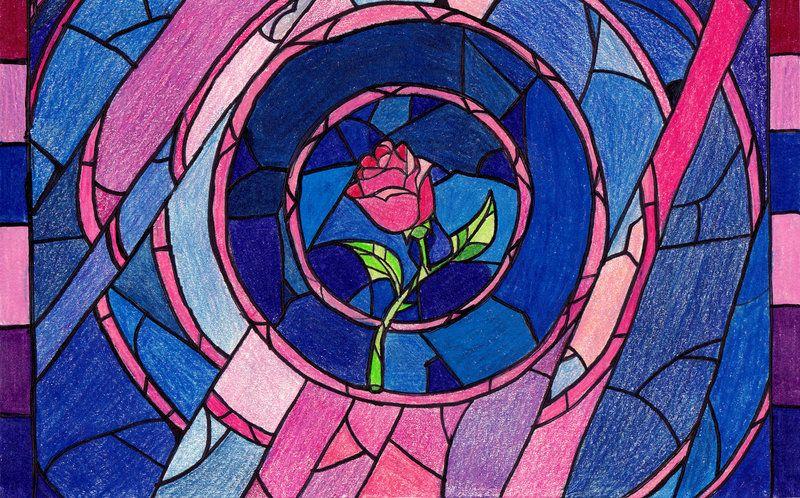 Beast S Rose By Disney Fairy On Deviantart Stained Glass Rose Art Glass Art Sculpture