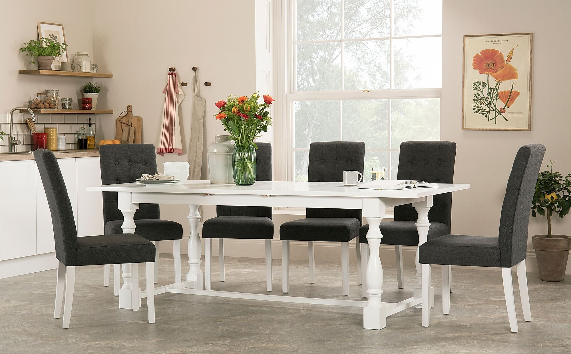 Devonshire White Extending Dining Table With 4 Regent Slate Chairs