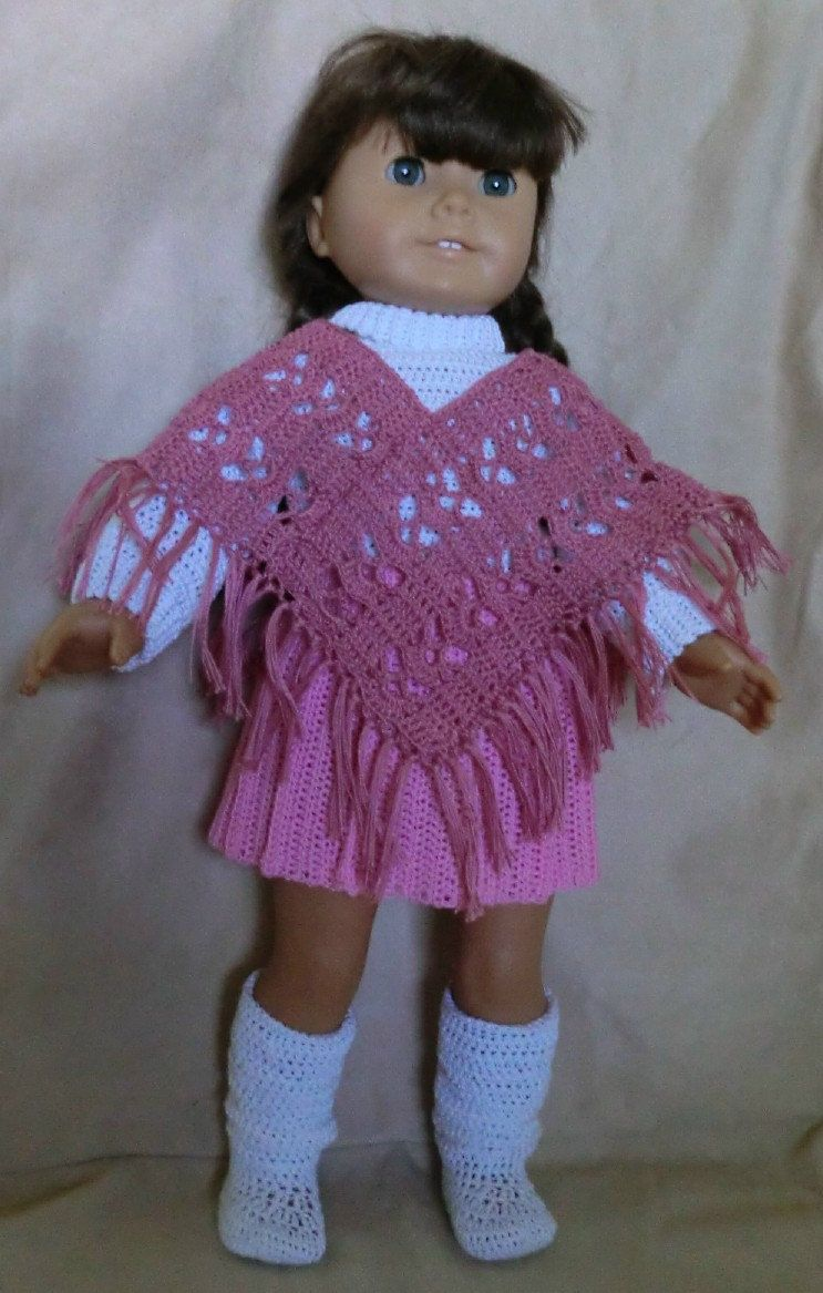126 Dusty Rose Poncho - Crochet Pattern for American Girl Dolls ...