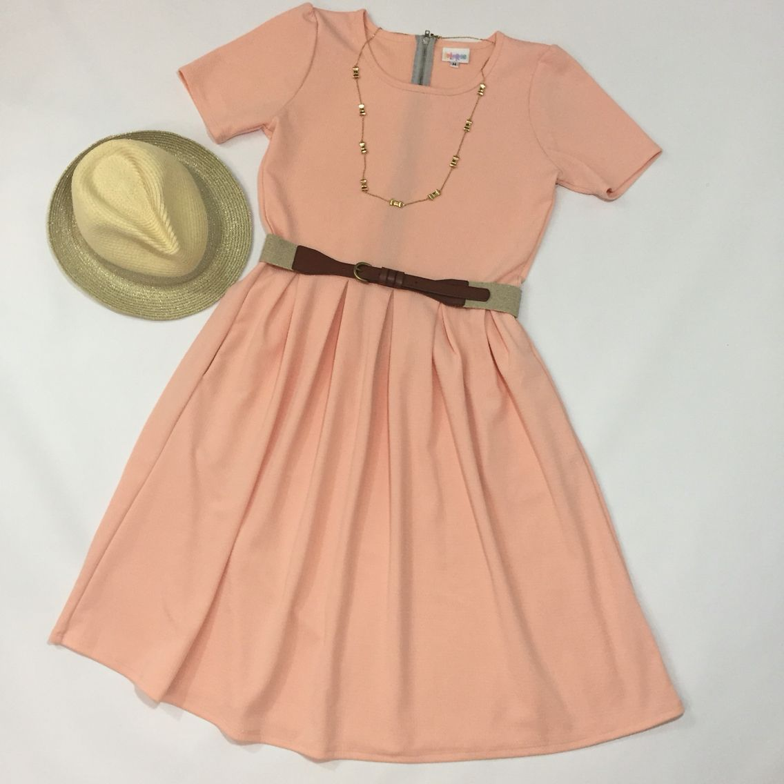 62f8db861505 LuLaRoe Amelia. Blush pink. Fedora. pocket dress.
