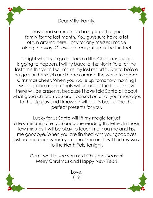 creating my life OUR ELF ON THE SHELF Goodbye letter Elf on