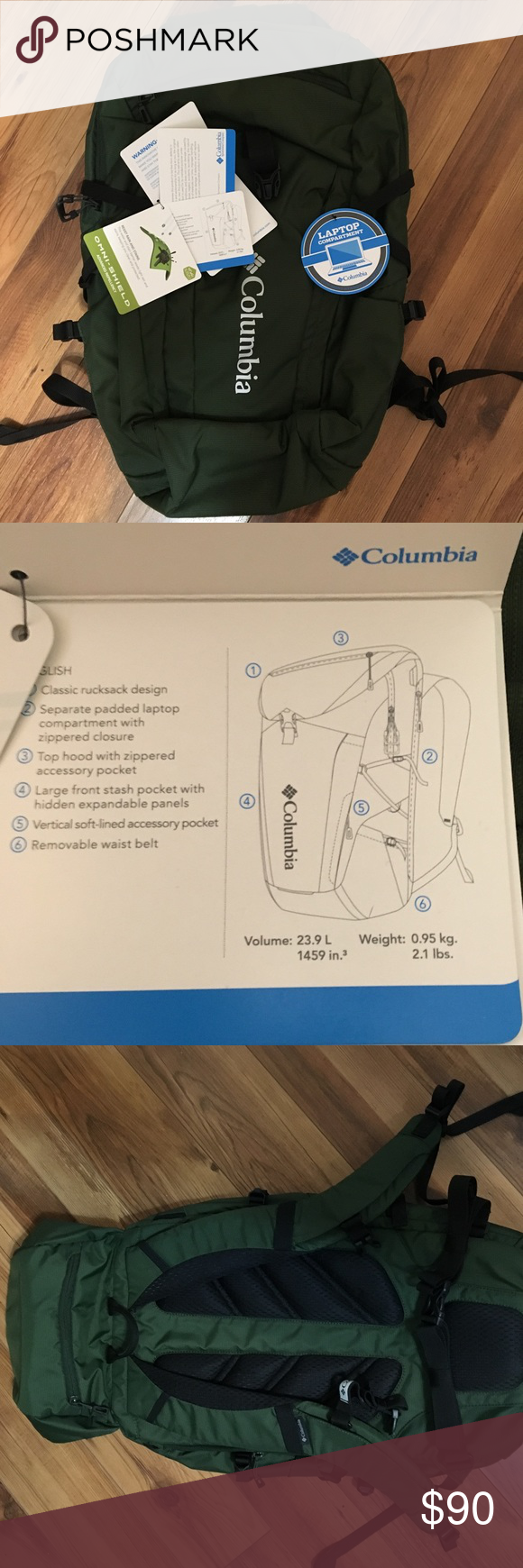 Columbia backpack Classic design, separate laptop ...