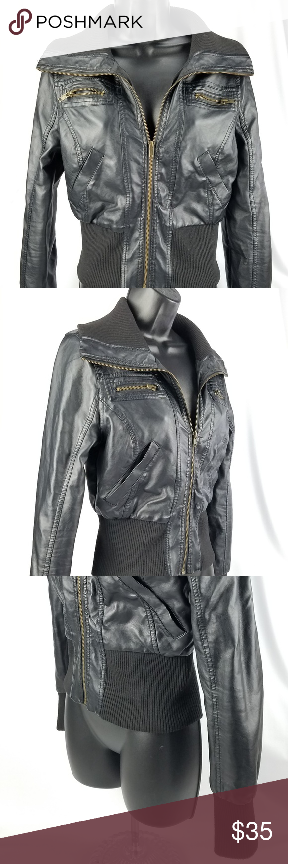 Ambiance Apparel Bomber Faux Leather Jacket Small Ambiance Apparel Leather Jacket Faux Leather Jackets [ 1740 x 580 Pixel ]